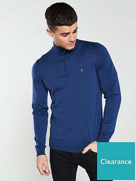farah-soft-knit-quarter-zip-jumper-blue