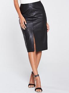river-island-river-island-leather-split-front-pencil-skirt-black