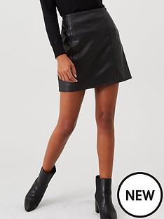 river-island-leather-mini-skirt-black