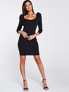river-island-puff-sleeve-dress-black