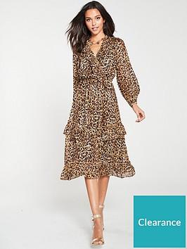 river-island-river-island-leopard-print-frill-hem-midi-dress-brown