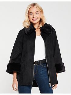 river-island-suedette-cape-coat-black