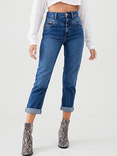 river-island-river-island-rolled-hem-mom-jean-dark-blue