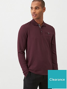 ted-baker-recline-long-sleeved-polo-shirt-burgundy