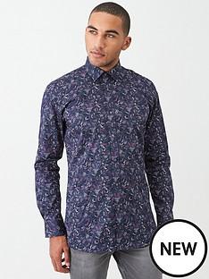 ted-baker-feather-print-endurance-shirt-navy