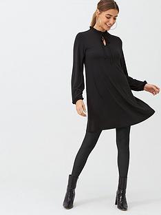 v-by-very-tie-neck-mini-trapeze-dress-black