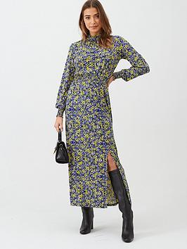 v-by-very-ditsy-shirred-cuff-split-front-midi-dress-purplefloral