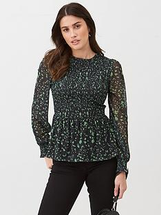 v-by-very-smocked-balloon-sleeve-top-green-floral