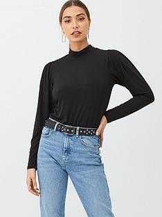 v-by-very-puff-sleeve-high-neck-top-black