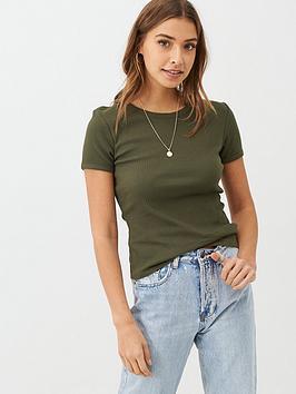 v-by-very-ribbed-round-neck-trim-t-shirt-khaki