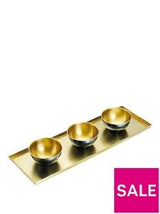 kitchencraft-artesagrave-hammered-brass-serving-platter-with-3-serving-bowls