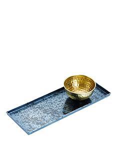 kitchencraft-artesagrave-blue-galvanised-serving-platter-with-brass-bowl