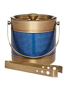 barcraft-stainless-steel-blue-and-brass-finish-ice-bucket-with-tongs