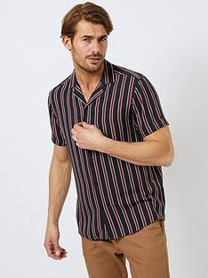burton-menswear-london-burton-short-sleeve-stripe-shirt-blackburgundynbsp