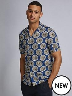 burton-menswear-london-burton-short-sleeve-tile-print-shirt-blue