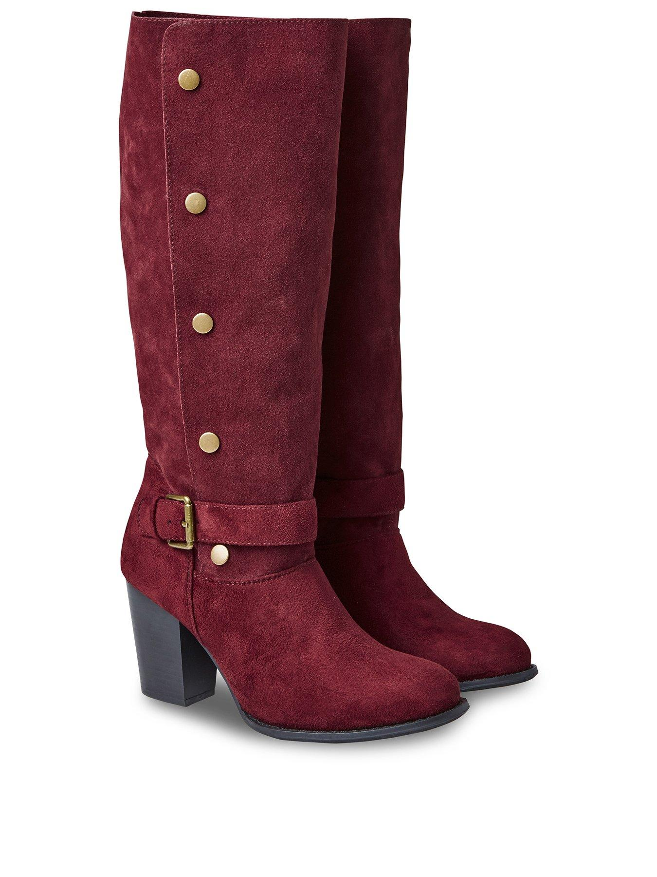 Ladies Womens Winter Block Mid Heel Gold Buckle Casual Knee High Boots Size 3-8