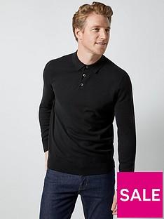 burton-menswear-london-burton-knitted-polo-top-black