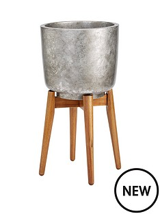 metallic-print-pot-with-wooden-legs