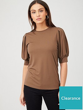 v-by-very-puff-sleeve-t-shirt-brown