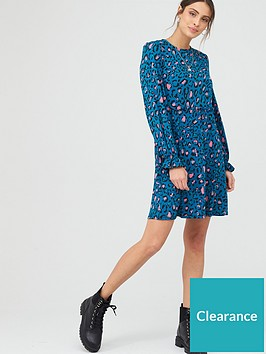v-by-very-frill-detail-smock-mini-dress-teal