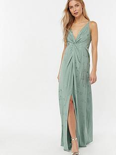 monsoon-karlie-knot-front-jacquard-dress-green