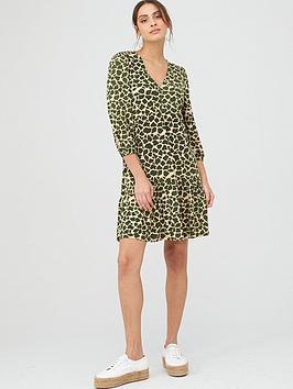 v-by-very-curved-seam-v-neck-mini-dress-green
