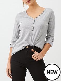 v-by-very-the-three-quarter-sleeve-henley-t-shirt-grey