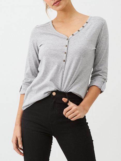 v-by-very-the-valuenbspthree-quarter-sleeve-henley-t-shirt-grey