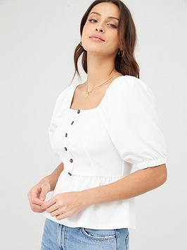 v-by-very-button-detail-puff-sleeve-top-ivory