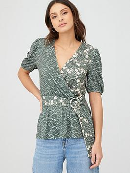v-by-very-printed-fixed-wrap-puff-sleeve-top-khaki