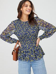 v-by-very-smocked-mesh-balloon-sleeve-top