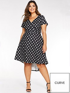 quiz-curve-polka-dot-wrap-dip-hem-dress