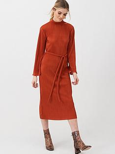 v-by-very-slash-neck-plisse-midi-dress-rust