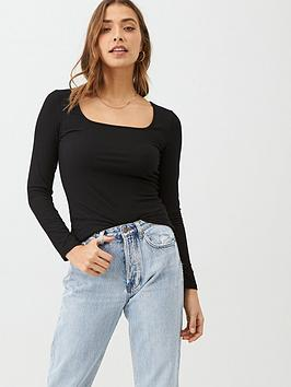 v-by-very-the-essential-square-neck-long-sleeve-rib-top-black