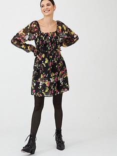 v-by-very-georgette-shirred-tea-dress-print
