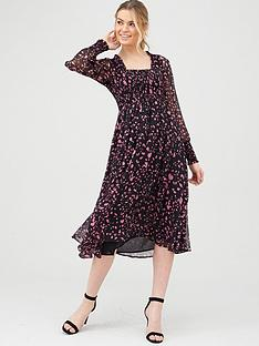 v-by-very-woven-printed-shirred-midi-dress
