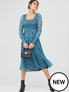 v-by-very-georgette-shirred-midi-dress-print