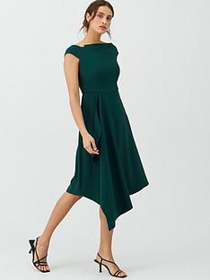 v-by-very-riviera-draped-asymmetric-hem-dress-green