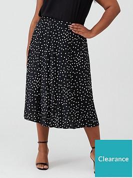 oasis-curve-polka-dot-pleated-skirt-mono