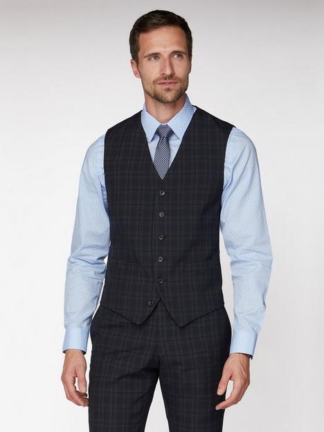 jeff-banks-check-brit-suit-waistcoat-blue