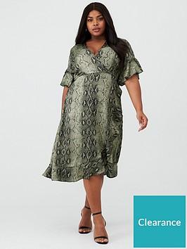 ax-paris-curve-frill-sleeve-animal-wrap-dress-khaki