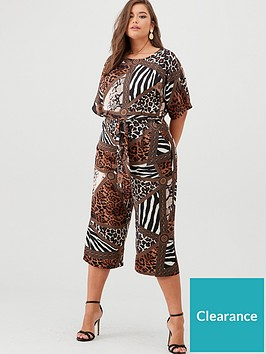 ax-paris-curve-printed-tie-waist-jumpsuit-multi
