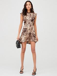 ax-paris-animal-print-frill-dress-stone