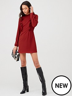 ax-paris-high-neck-ruffle-dress-red