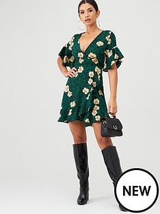 ax-paris-leopard-and-floral-wrap-dress-green