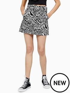 topshop-topshopnbspanimal-print-belted-skirt-monochrome