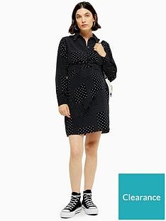 topshop-maternity-spot-tie-front-mini-dress-monochrome