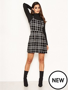 ax-paris-petite-ax-paris-petite-check-button-front-detail-skater-dress