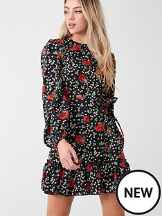 ax-paris-floral-frill-hem-dress-black