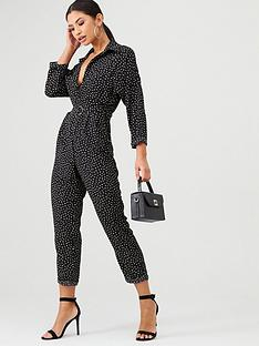 ax-paris-spot-print-belted-jumpsuit-black